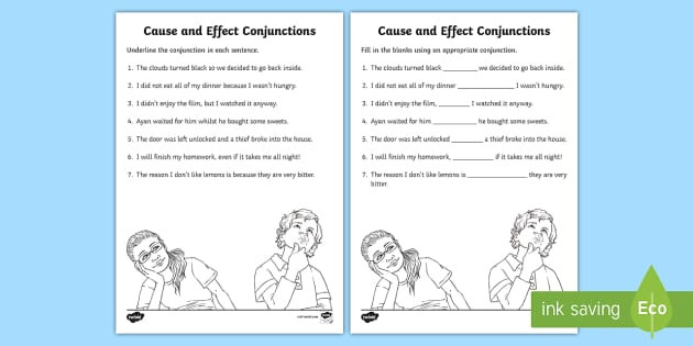 Cause and Effect Connectives Worksheet - connectives, effect