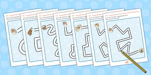 The Tale of Mrs Tiggy Winkle Pencil Control Path Worksheets