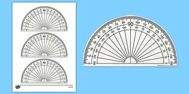180 Degree Protractor Printable Math Tool