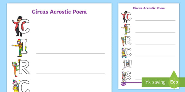 Circus Acrostic Poem Template - poems, poetry, writing aid, write