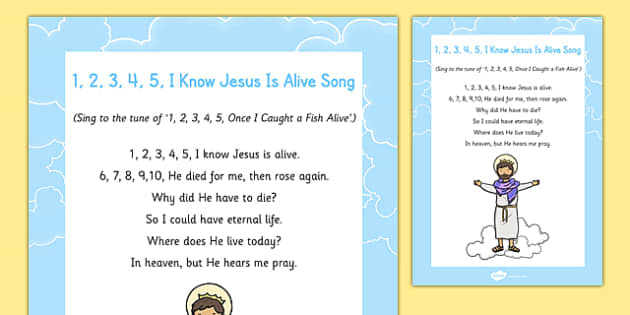 1 2 3 4 5 I Know Jesus is Alive Song - Easter, song, rhyme, jesus, alive, easter song