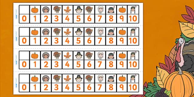Thanksgiving Number Track 0-10 - thanksgiving, number track, Counting, 0, 10, Numbertrack, Counting on, Counting back, Foundation Numeracy, themed, numbers, nought, zero, ten, turkey, harvest celebrations, autumn, united states, usa, canada, holiday,