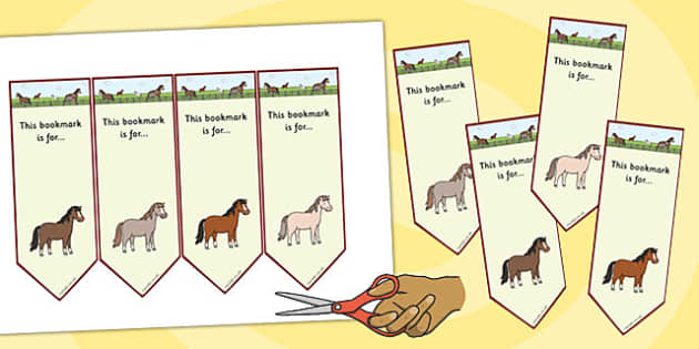 Horses and Ponies Editable Bookmarks - horses, ponies, bookmarks