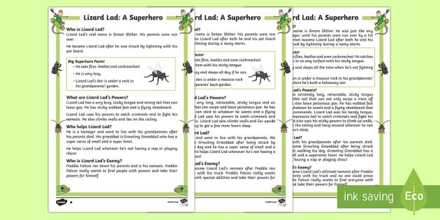 Lizard Lad: A Superhero Differentiated Fact File