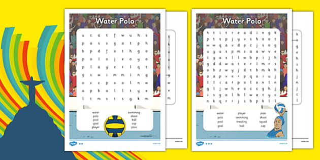 The Olympics Water Polo Word Search - the olympics, rio olympics, 2016 olympics, rio 2016, water polo, word search