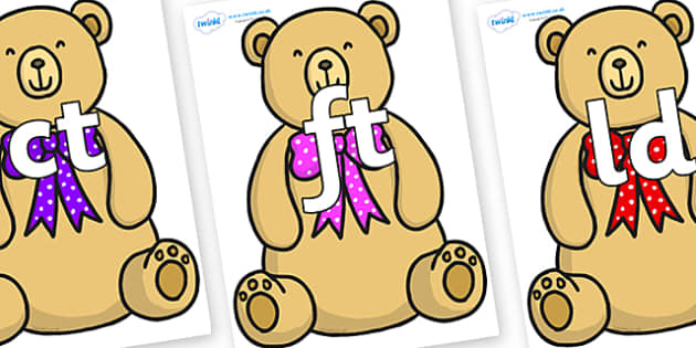 Final Letter Blends on Bow Tie Teddy - Final Letters, final letter, letter blend, letter blends, consonant, consonants, digraph, trigraph, literacy, alphabet, letters, foundation stage literacy