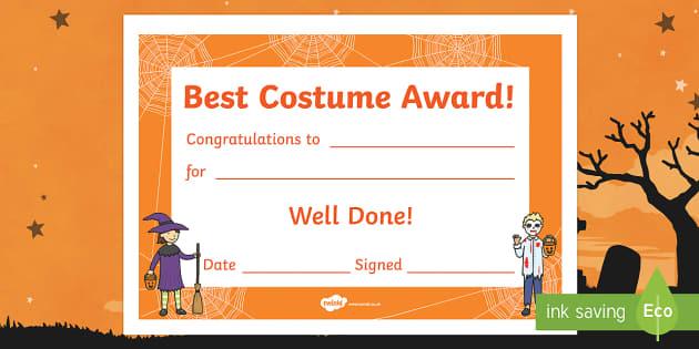 Best Costume Award Halloween Certificate