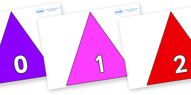 Numbers 0-100 on Triangles - 0-100, foundation stage numeracy, Number recognition, Number flashcards, counting, number frieze, Display numbers, number posters