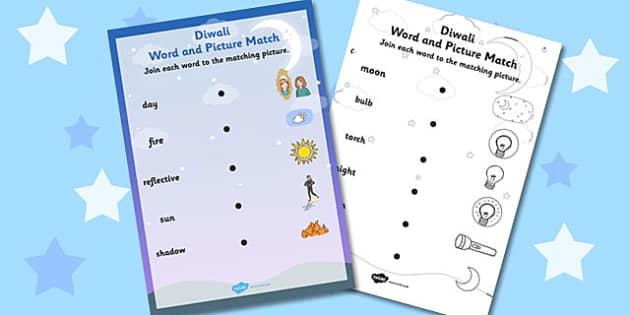 Light and Dark Word and Picture Matching Activity - light, dark