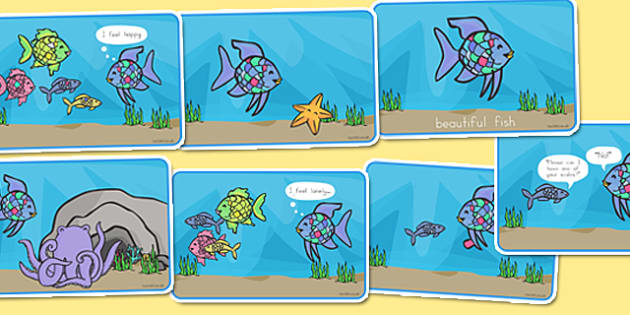 Story Sequencing 4 per A4 to Support Teaching on The Rainbow Fish - australia, rainbow fish