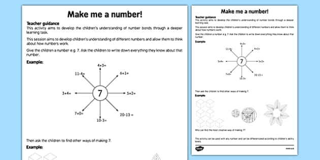 Make Me a Number Teaching Ideas