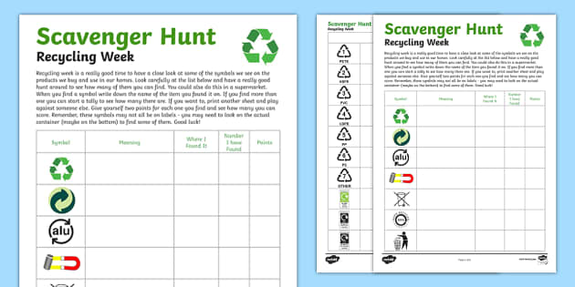Recycling Week Scavenger Hunt - recycling week, scavenger hunt