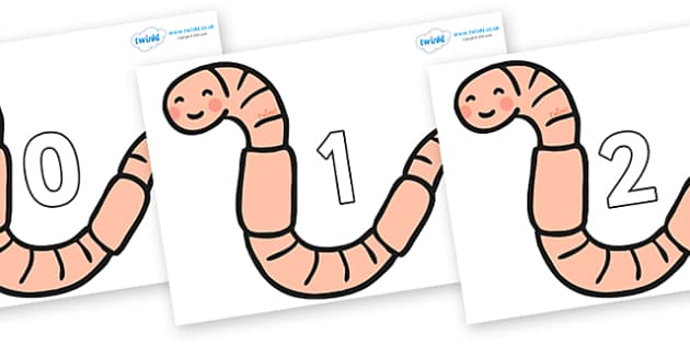 Numbers 0-50 on Earthworms - 0-50, foundation stage numeracy, Number recognition, Number flashcards, counting, number frieze, Display numbers, number posters