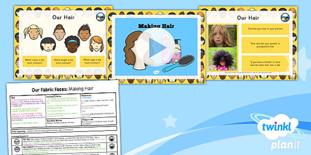 PlanIt - DT KS1 - Our Fabric Faces Lesson 2: Making Hair Lesson Pack