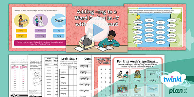 PlanIt Y2 Term 2A W2: Adding -ing to Words Ending with -y Spelling Pack - Spelling Packs Y2, Term 2A, Week 2, adding ing, suffixes, suffix ing