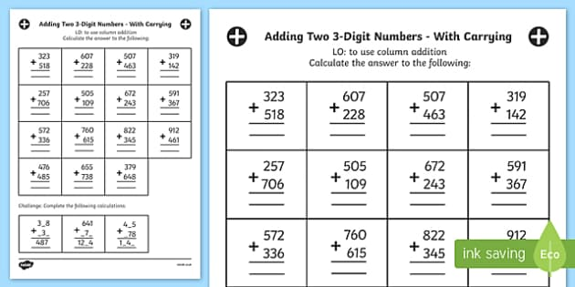 Adding Two 3 Digit Numbers in a Column with Carrying Answers Activity Sheet Year 3, worksheet