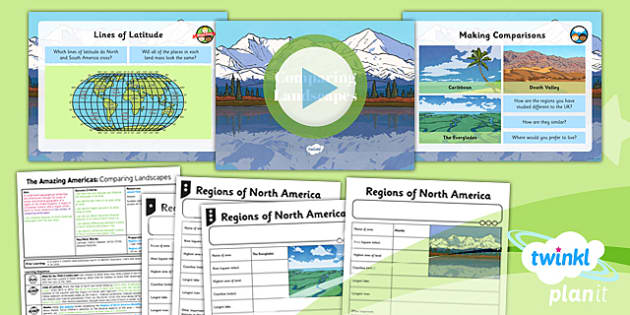 PlanIt - Geography Year 6 - The Amazing Americas Lesson 2: Comparing Landscapes Lesson Pack - planit, geography, North America, landscape, physical, river, mountain