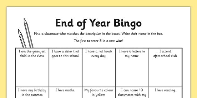 Last Day of School Bingo Activity Sheet - last day of school, bingo, activity, worksheet