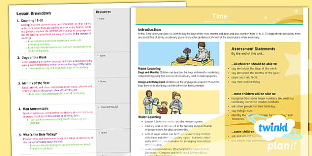 PlanItYear 3 French: Time Planning Overview