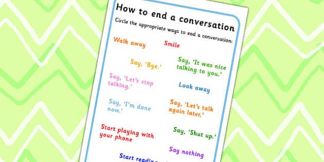 How To End A Conversation Worksheet - conversations, SEN, friends