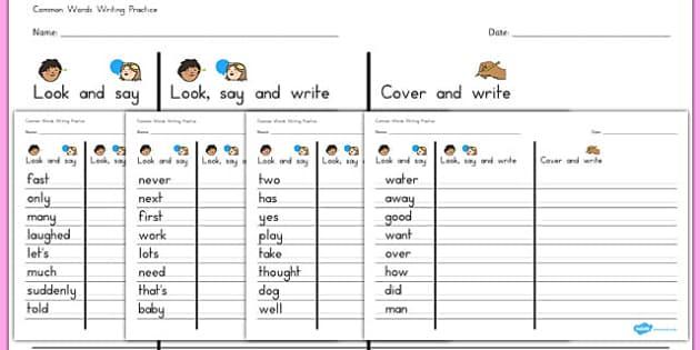 Level 1 Key Words Handwriting Practise Worksheet - australia, level 1, key words, handwriting practice