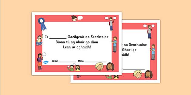 Gaeilgeoir na Seachtaine Third and Fourth Class Certificate - roi, irish, gaeilge, certificate, language, Gaeilgeoir, Third and Fourth Class
