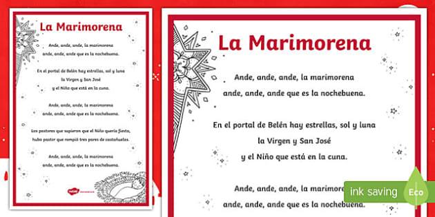 La Marimorena Christmas Carol Lyrics Display Poster Spanish