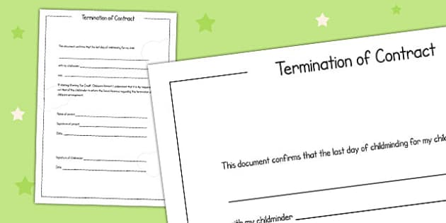 Termination of Childminding Contract Template - child minder