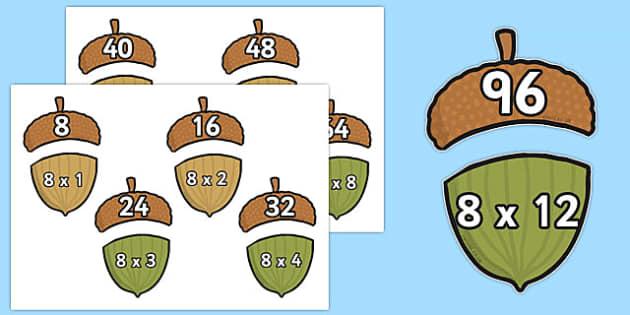 Multiplication 8x Acorn Matching Activity - multiplication, 8x, acorn, matching, activity