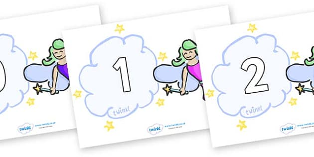 Numbers 0-31 on Fairies (Multicolour) - 0-31, foundation stage numeracy, Number recognition, Number flashcards, counting, number frieze, Display numbers, number posters