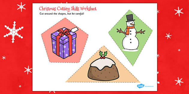 Christmas Themed Cutting Skills Worksheet - cut, motor, skill