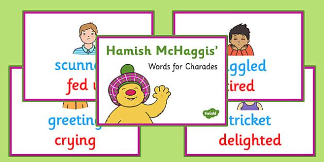 Hamish McHaggis Scottish Words for Charades - hamish mchaggis, scottish words, charades, activity