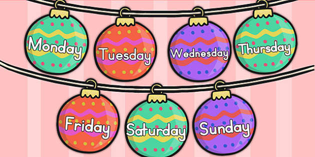 Australia Days of the Week on Baubles - days, weeks, christmas, baubles