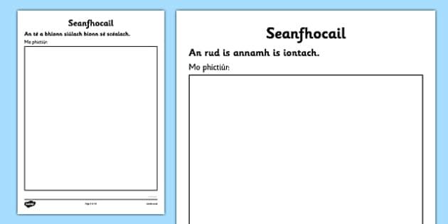 Irish Gaeilge Seanfhocail to Illustrate Activity Sheets - Gaeilge, proverbs, seanfhocail, drawing, illustrating, activity sheet, worksheet