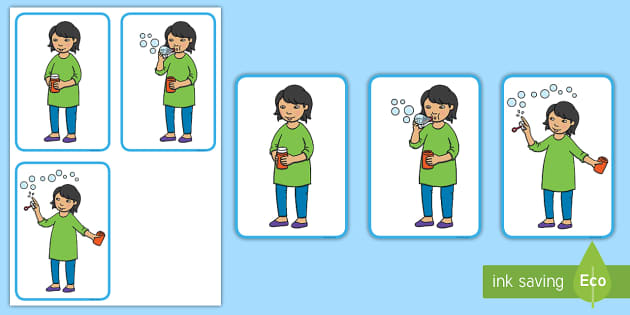 3-Step Sequencing Cards Blowing Bubbles - Sequencing, Bubbles