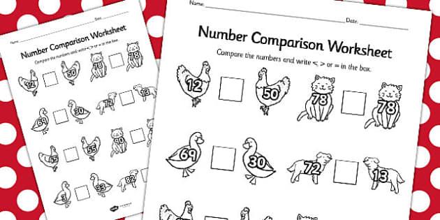 The Little Red Hen Number Comparison Worksheets - comparison