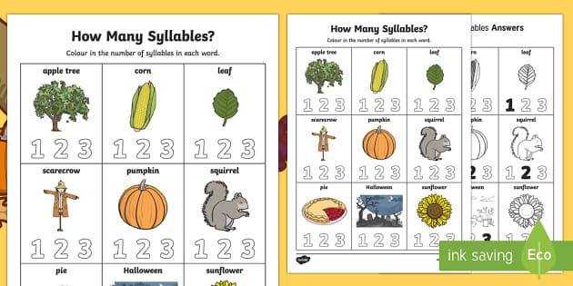 How Many Syllables? Autumn Activity Sheet