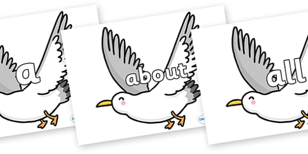 100 High Frequency Words on Seagulls - High frequency words, hfw, DfES Letters and Sounds, Letters and Sounds, display words