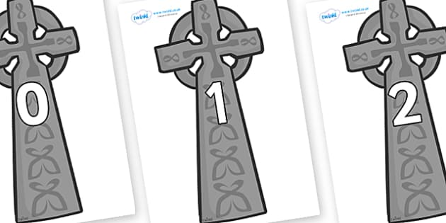Numbers 0-100 on Celtic Cross - 0-100, foundation stage numeracy, Number recognition, Number flashcards, counting, number frieze, Display numbers, number posters