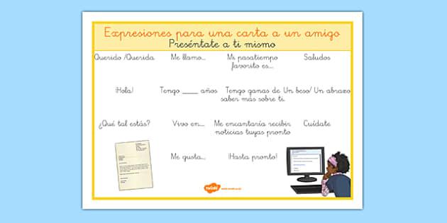 Hoja de vocabulario: Expresiones para una carta a un amigo - carta, saludos, introdución, presentación, escribir, escritura