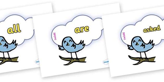 Tricky Words on Birds - Tricky words, DfES Letters and Sounds, Letters and sounds, display, words