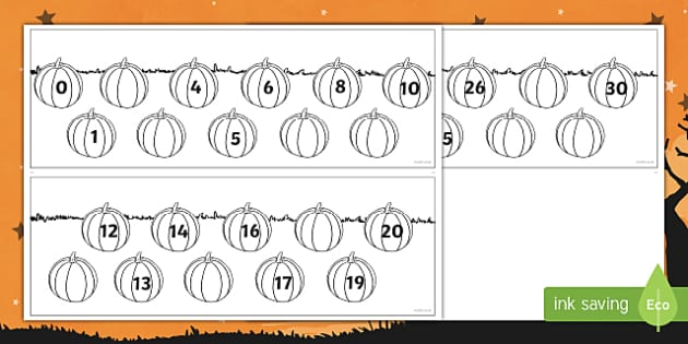 Halloween Themed Missing Numbers to 30 Activity Sheet