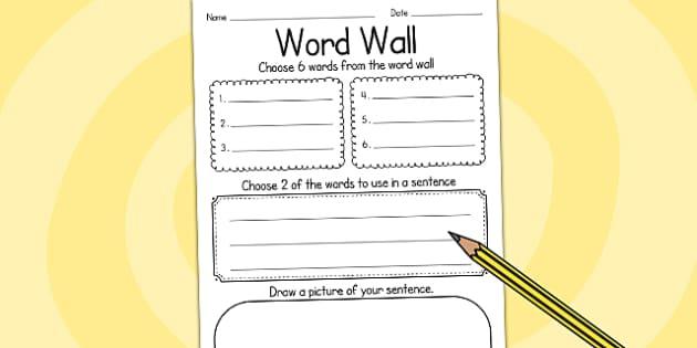 Word Wall Writing Frame - writing template, writing aid, write