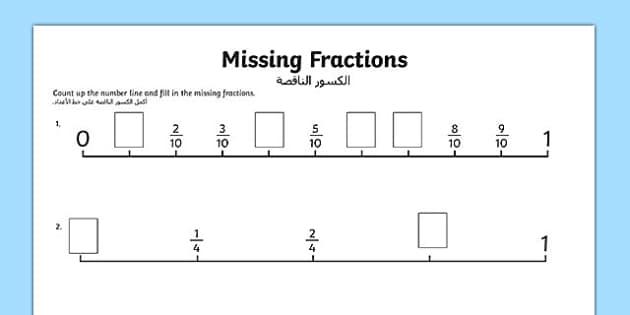 Missing Fractions Number Line Activity Sheet Arabic Translation - arabic, missing fractions, number line, activity, missing, fractions, numbers, maths, numeracy, worksheet
