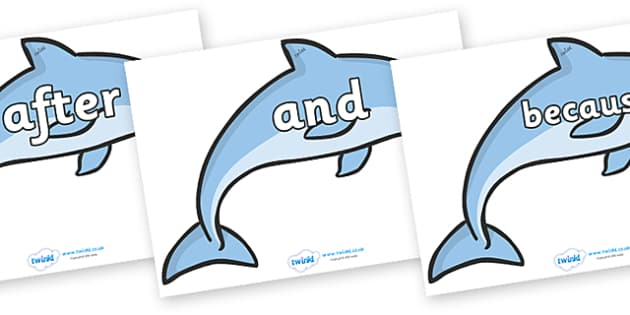 Connectives on Dolphins - Connectives, VCOP, connective resources, connectives display words, connective displays
