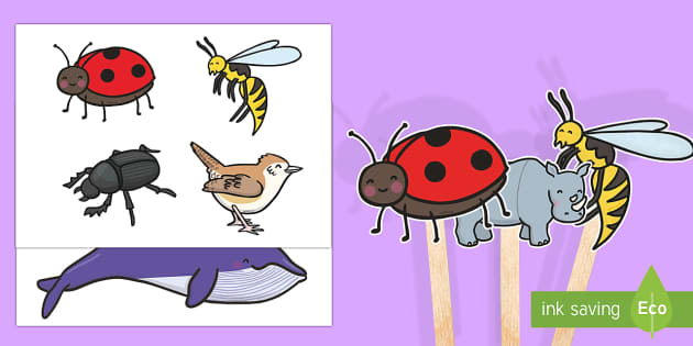Stick Puppets to Support Teaching on The Bad Tempered Ladybird - role play, props, story
