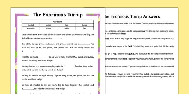 The Enormous Turnip Traditional Tale Cloze Procedure Differentiated Activity Sheet Pack, worksheet
