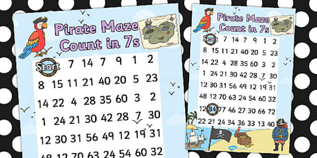 Pirate Themed Counting in 7s Maze Worksheet - pirates, count