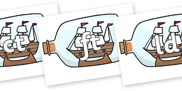 Final Letter Blends on Ship in a Bottles - Final Letters, final letter, letter blend, letter blends, consonant, consonants, digraph, trigraph, literacy, alphabet, letters, foundation stage literacy
