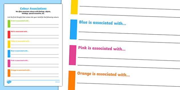 Colour Associations Activity Sheet, worksheet